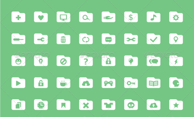 120 Simple Flat Folder Icons