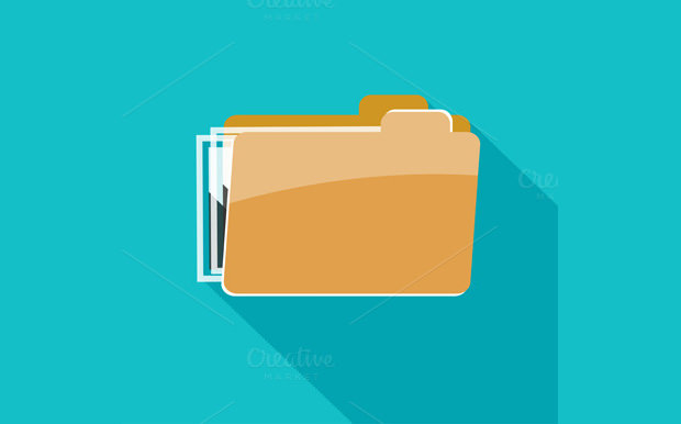 Folder Icon Isolated on Blue Background