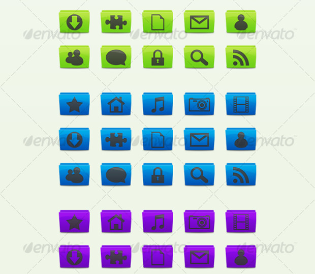 15 Folder Icons with 7 Different Colours
