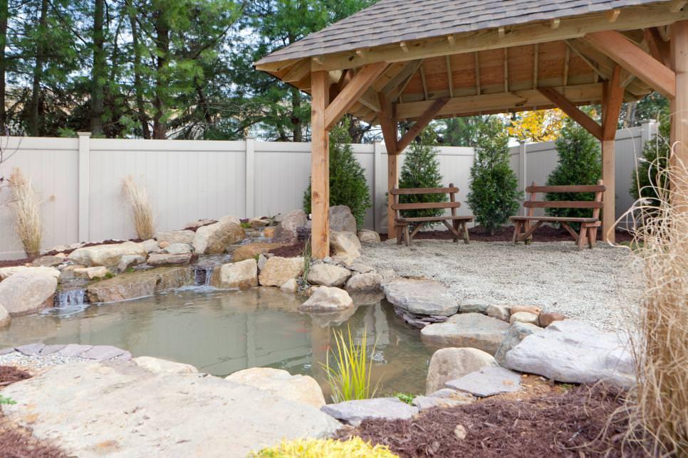 scenic garden backyard pond design