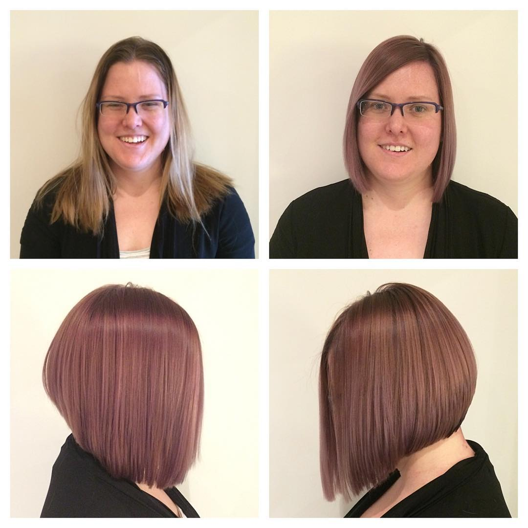 angled bob haircut for round face