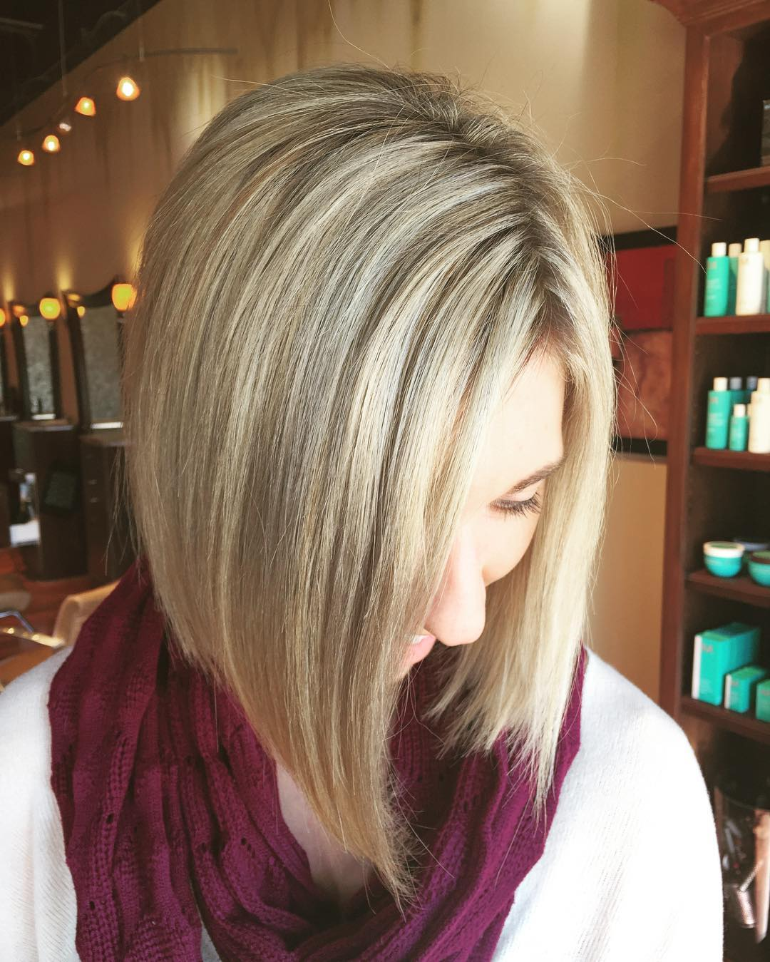 silver color angled bob haircut