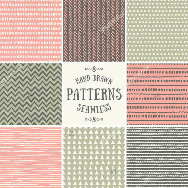 Pastel Pink Green and Brown Pattern