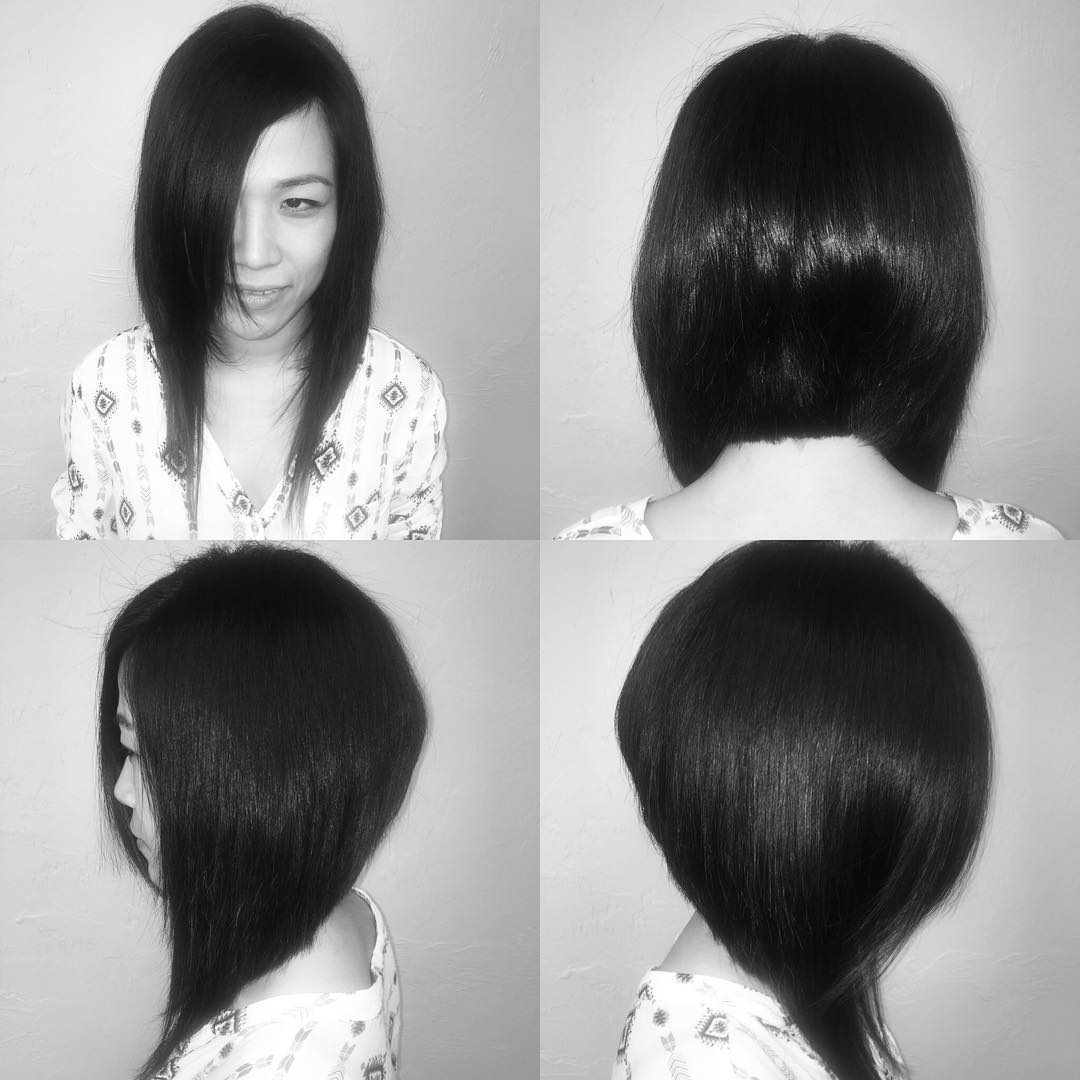 trendy look angled bob haircut