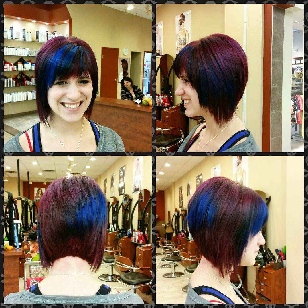 colorful angled bob haircut