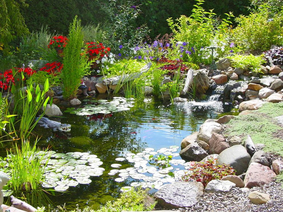 pleasant backyard pond design