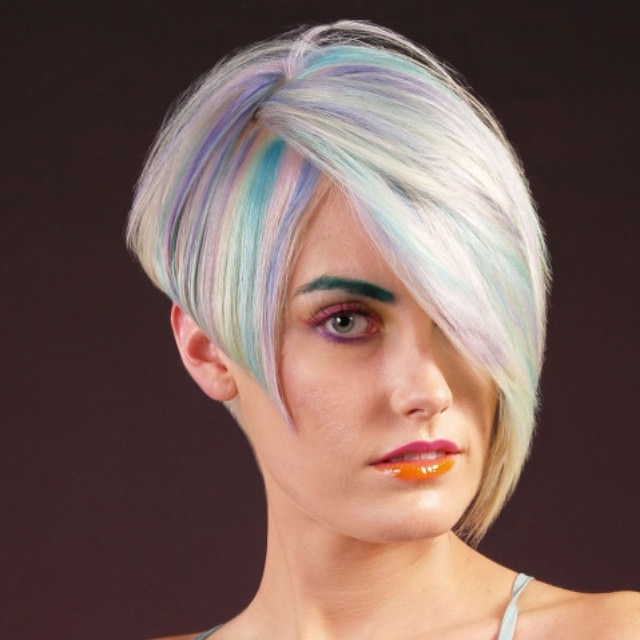 colorful nice angled bob haircut
