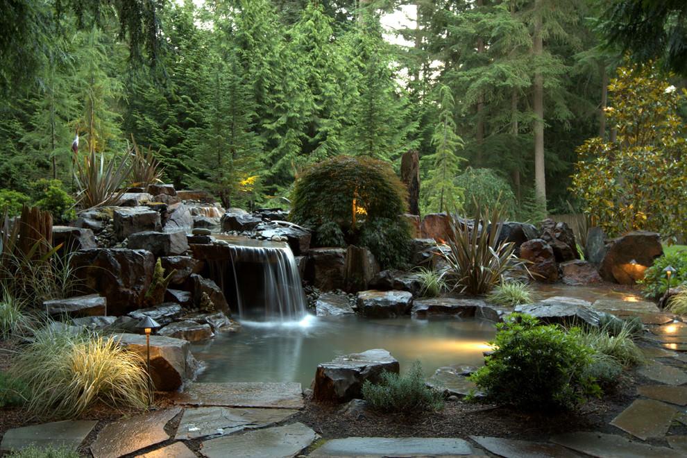traditional backyard pond design