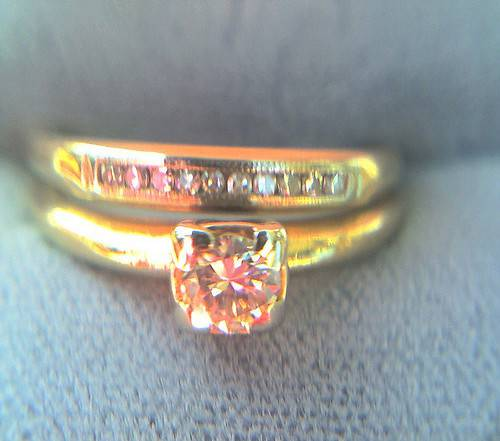 1940s vintage wedding yellow set engagement ring