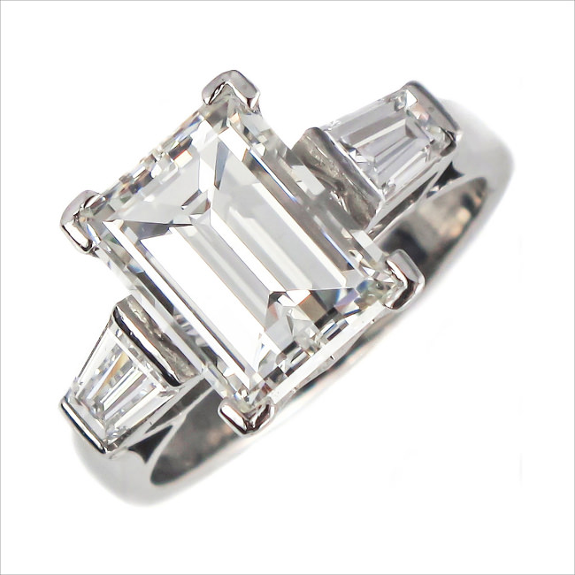 a magnificent 18ct white gold emerald cut diamond solitaire ring