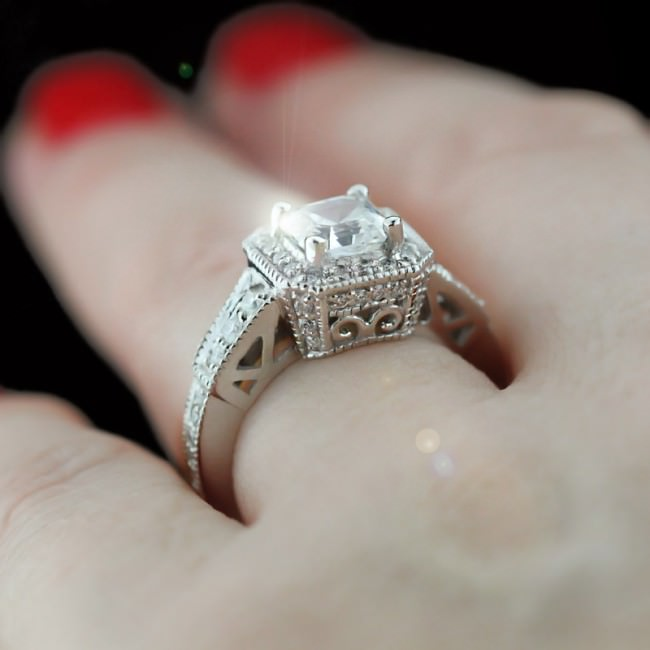 Accented Asscher Engagement ring