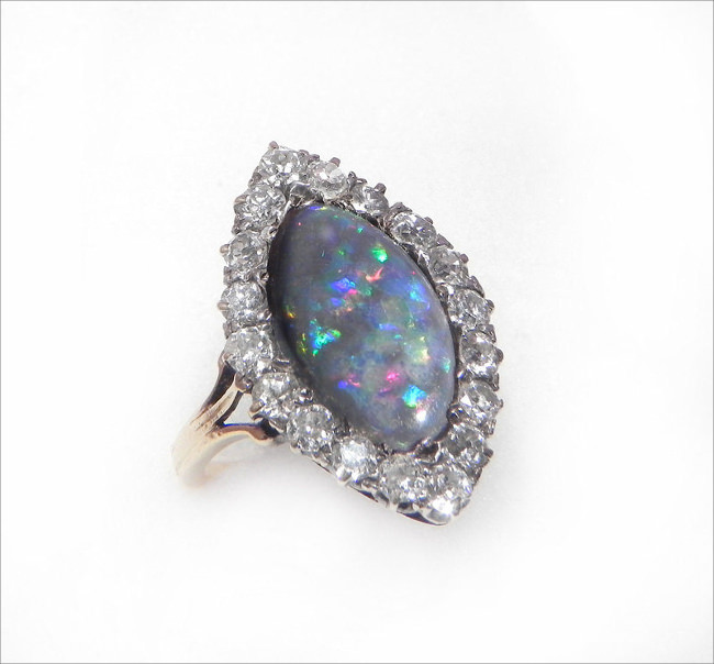 Antique Engagement Ring Opal And Diamond