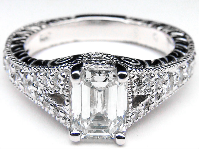 Emerald cut vintage style engagement ring