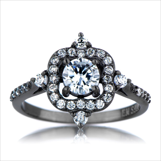 french vintage white gold cubic zirconia ring