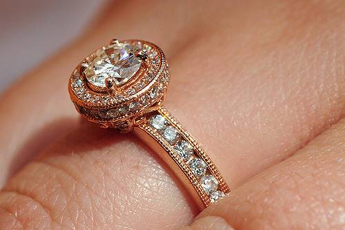 Gold Colored Vintage Diamond Ring