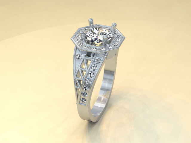 Platinum diamond custom vintage style engagement ring