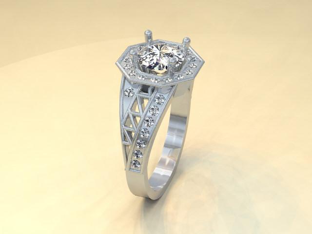 platinum diamond custom vintage style engagement ring