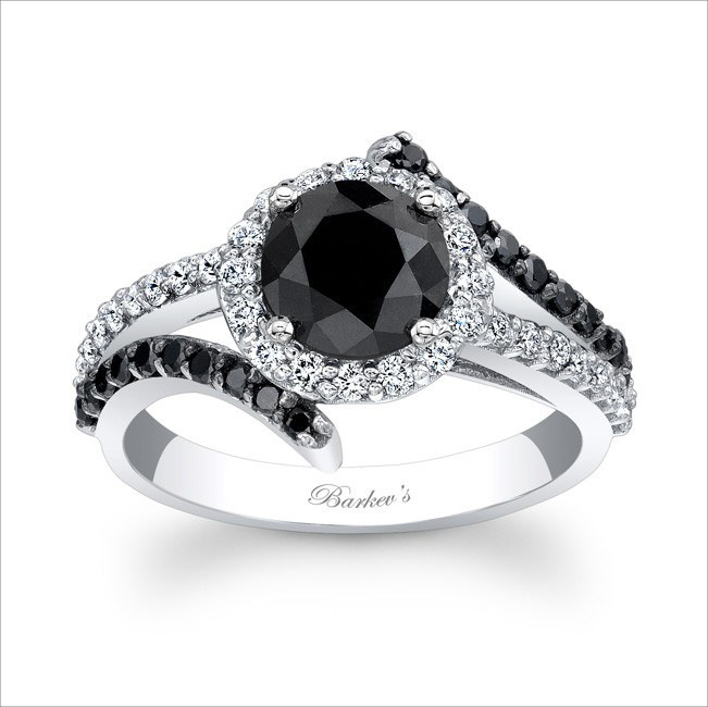 Shiny and Elegant Black Engagement Ring