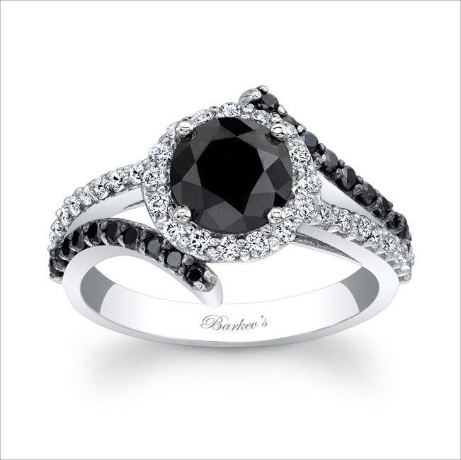 shiny and elegant black engagement ring