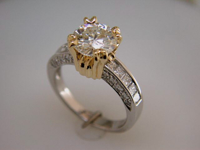 two tone engagement ring with lavish yellow setting