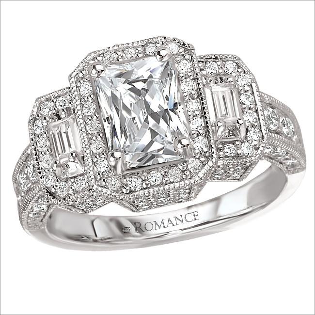 vintage rectangular diamond engagement ring