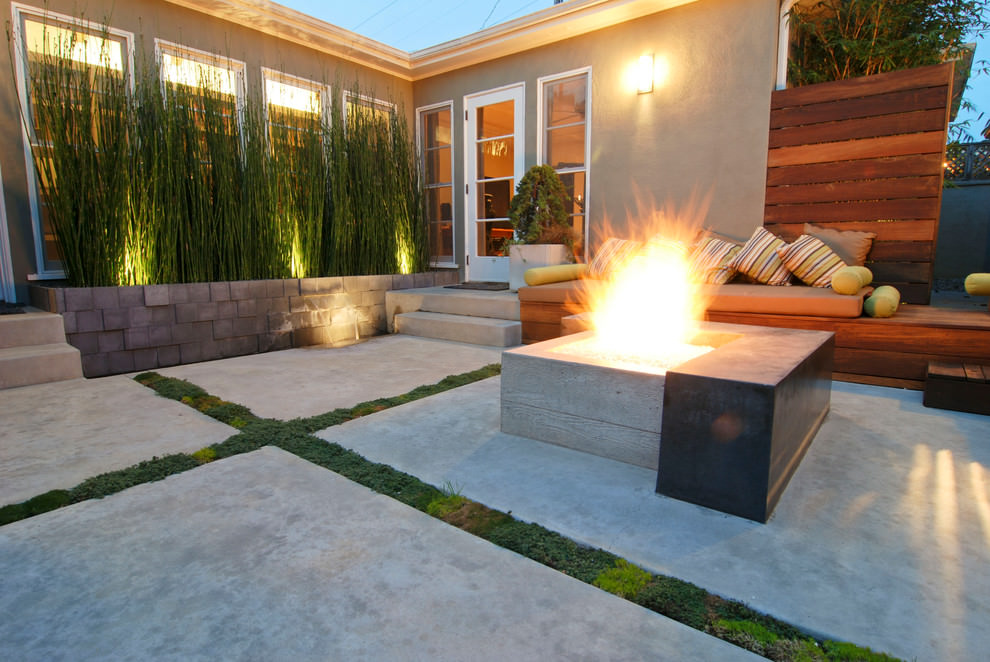 awesome concrete patio with firepit