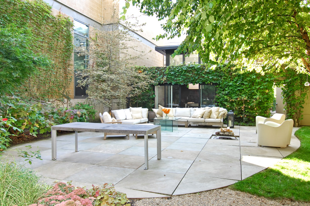 chic concrete patio design