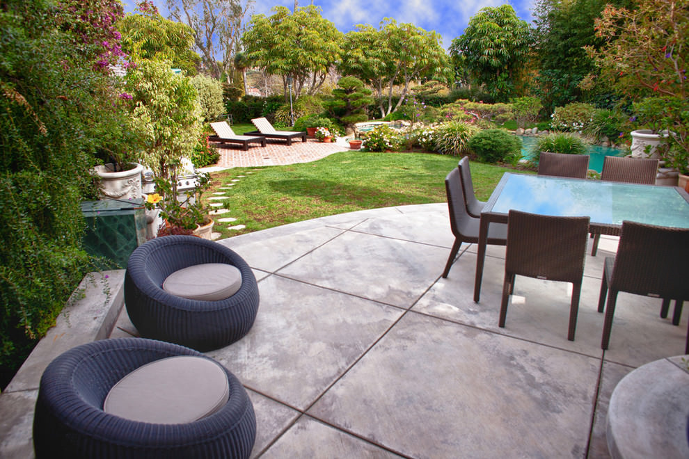 Concrete Patio Design Ideas image of small backyard concrete patio designs Transitional Concrete Patio Design