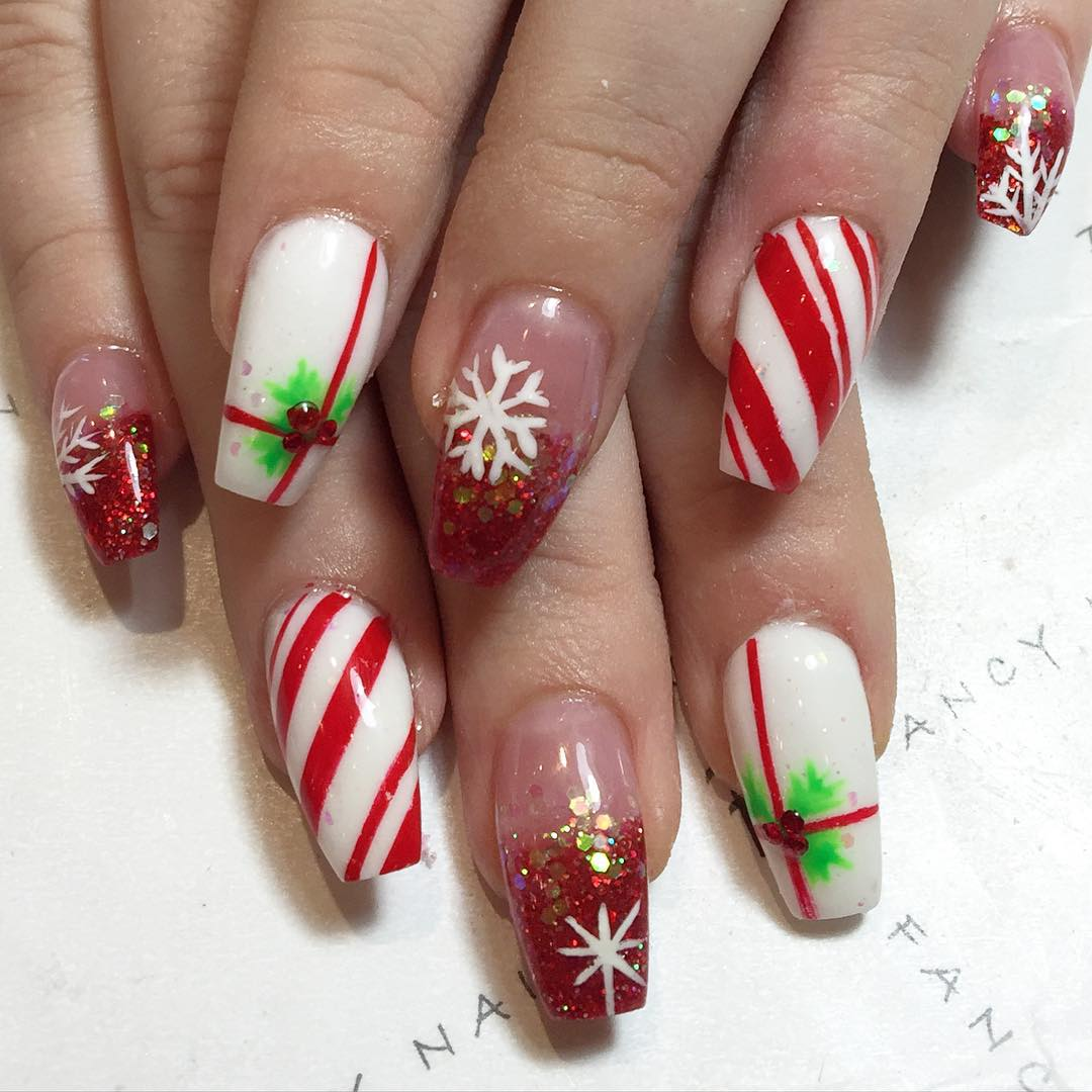 Candy Cane Nails - 30+ Candy Cane Nail Art Designs, Ideas Design Trends - Premium PSD