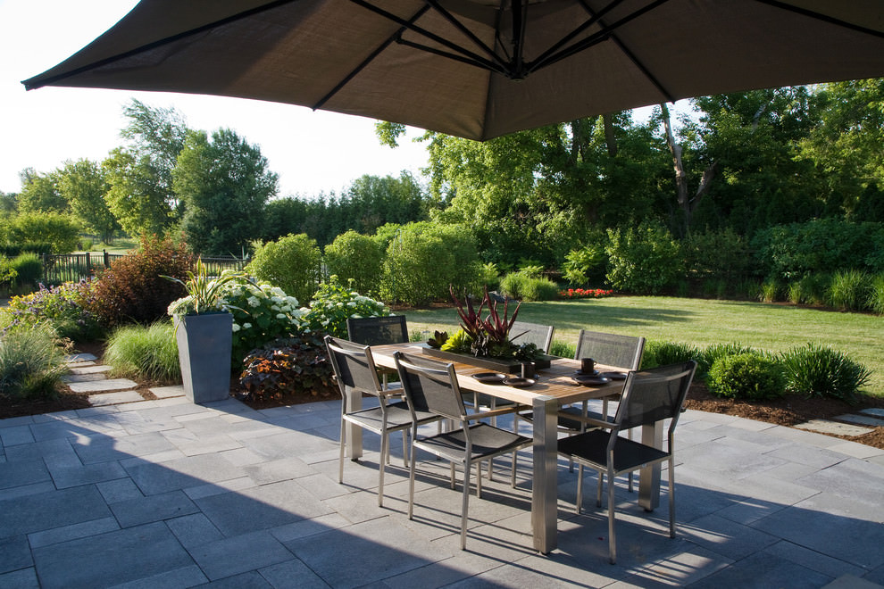 grey color paver patio design