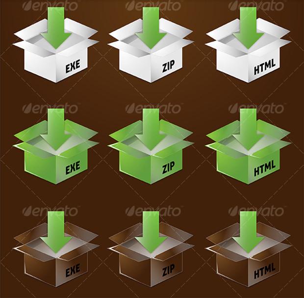 Stylish Download Box Icon