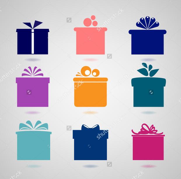 set of nine colourful gift box icons