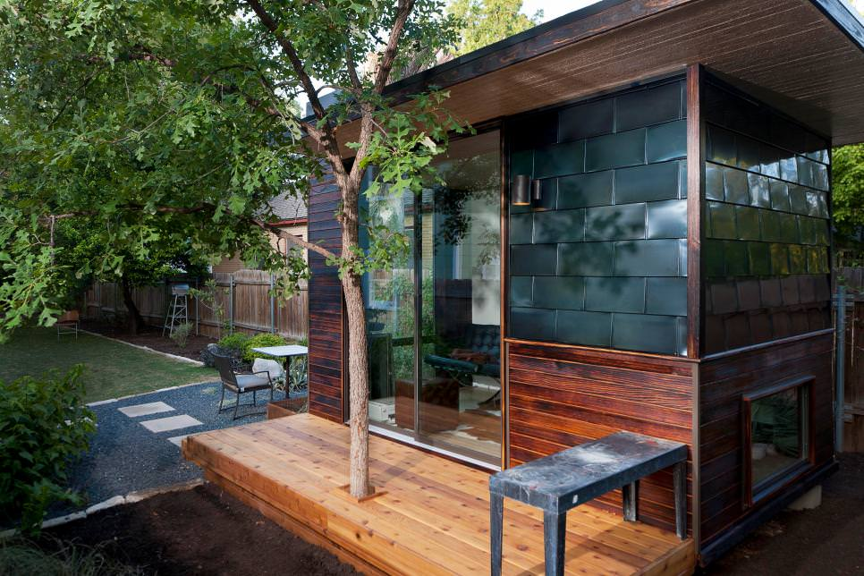 backyard office with metal tiles