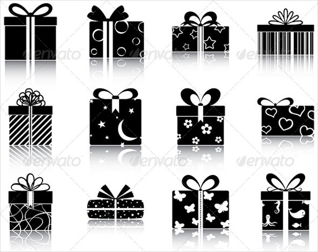 set of 16 gift boxes icons