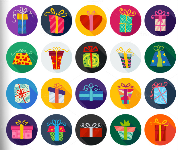 set of 20 flat styles gift box icons