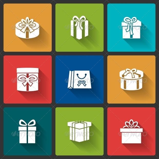 colourful gift box icon designs