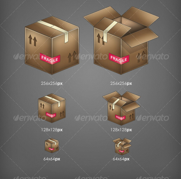 set of open and closed cardboard box icons