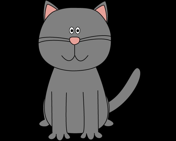 Grey coloured Cat Clipart