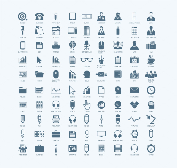 Set of Modern Simple Office Icons