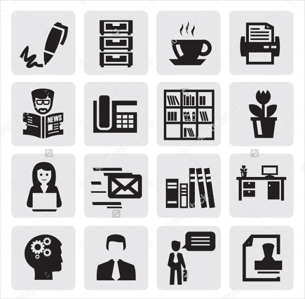 Vector Black Office Icons