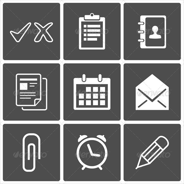 Office Icons: Envelope Pencil Calendar Contacts Clock Pushpin