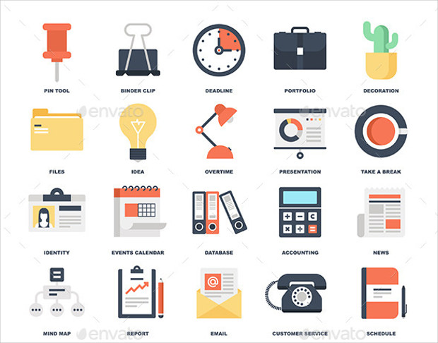Set of Colorful Flat Office Icons