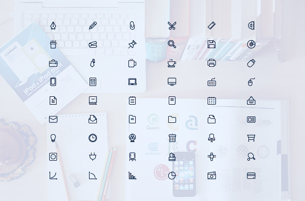 Set of 54 Outline Office Icons