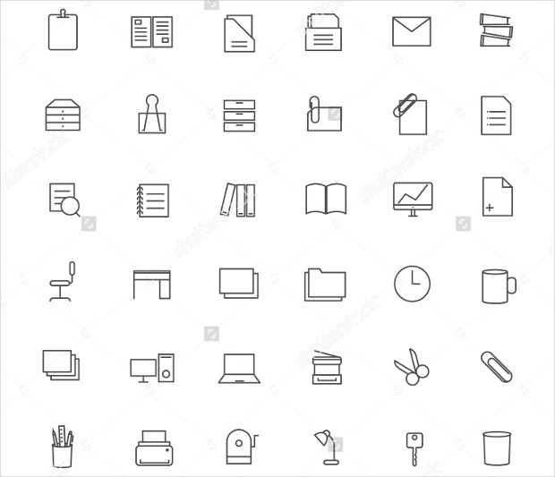 36 Office Icons Linear Ui