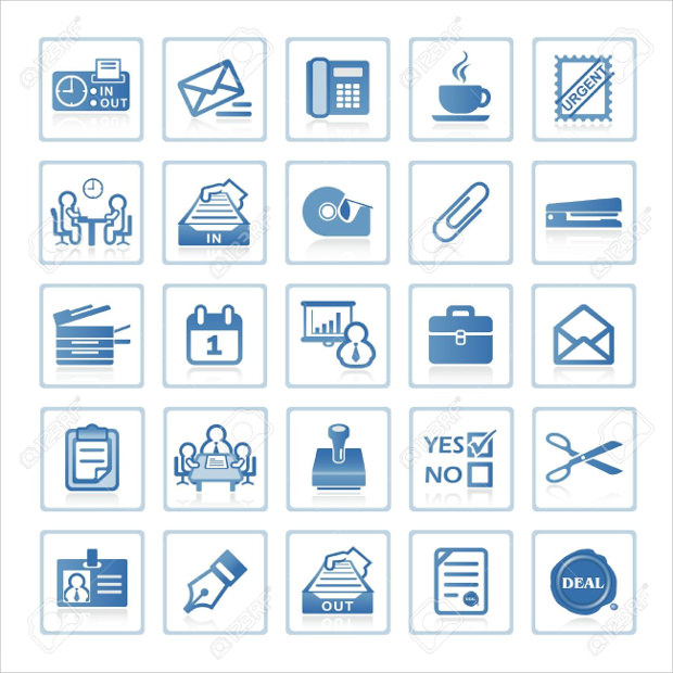 Blue Colour Office Icons