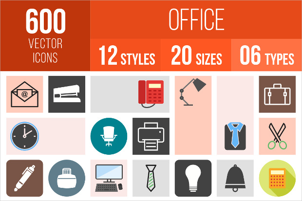 50 Unique Office Icons in 12 Different Styles