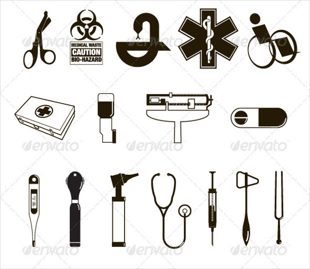 Black and White Medical Office Icons
