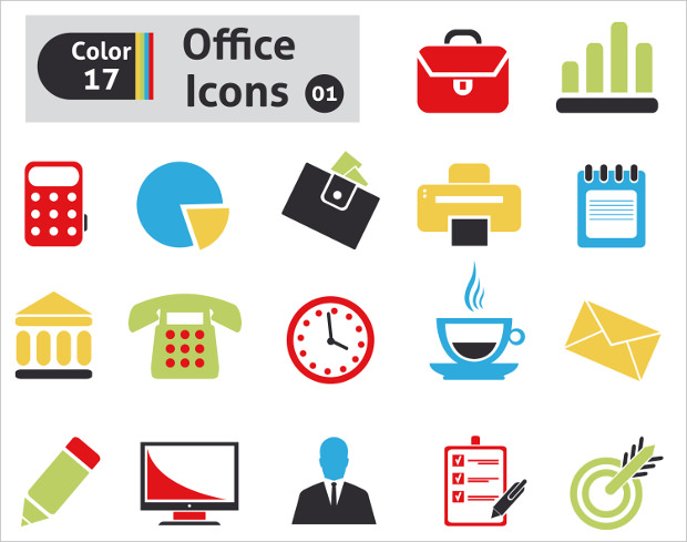 Colour and BW Office Icons