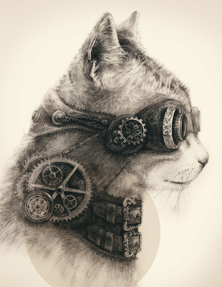 Steampunk Cat Drawing