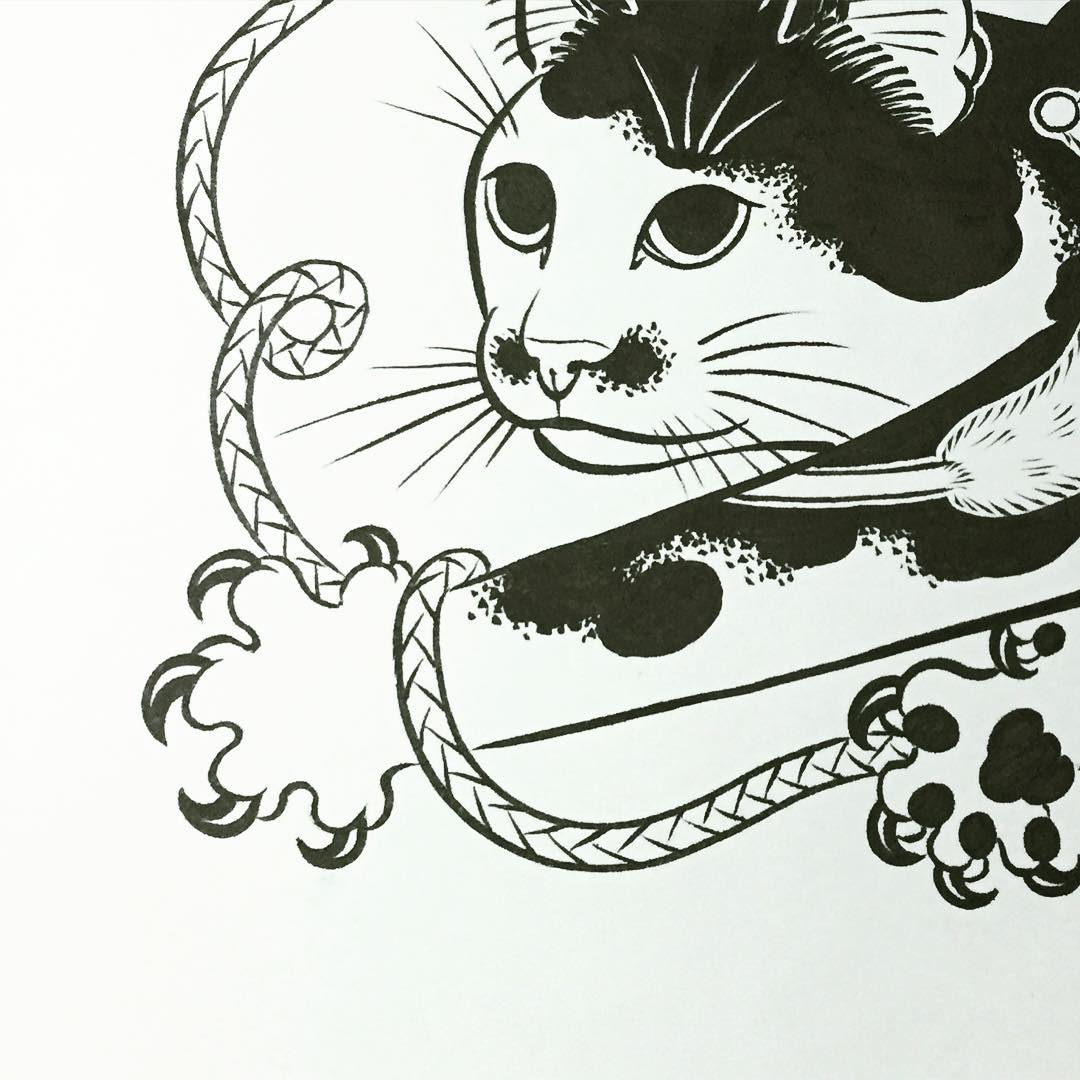 monmon cat drawing in japanese style